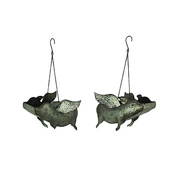 Galvanized Metal Flying Pig Hanging Planters Set of 2