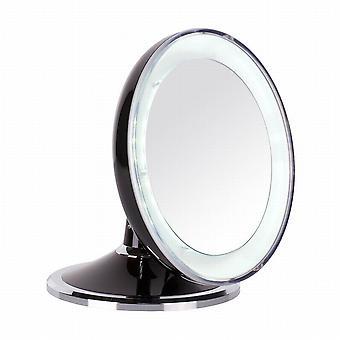 Danielle plegable LED maquillaje espejo 5 x Mag negro / cromo con Swarovski Elements