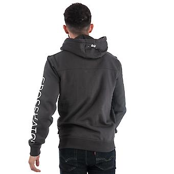 Mens Crosshatch Black Label Cassmore Overhead Hoody In Charcoal- Ribbed Cuffs