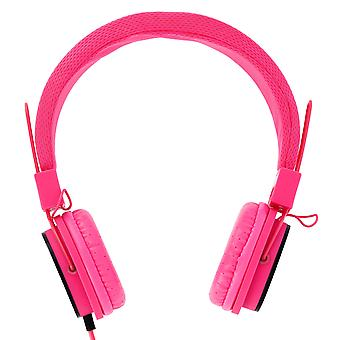 Wireless Audio headphones Y6338 Pink- integrated in-line mic + remote.