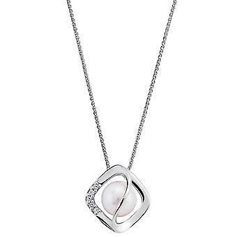 Orphelia 925 Pendentif argenté avec chaîne avec perle et zirconium