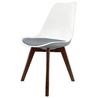 Fusion Living Eiffel Inspired White And Dark Grey Dining Chair With Squared Dark Wood Legs