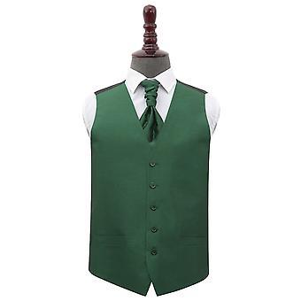 Emerald Green Shantung Wedding Waistcoat & Cravat Set