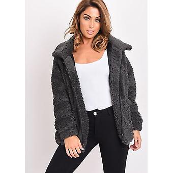 Faux Fur Oversized Zip Up Teddy Jacket Charcoal Grey