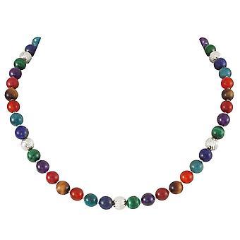 Eternal Collection Debutante Multicolor Semi Precioso collar de tono de plata con cuentas