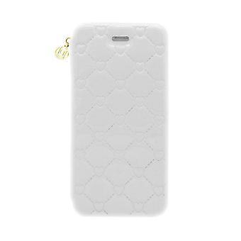 iPhone 6/6s - 4.7 Inch Patent Embossed Heart Folio Hard Shell White