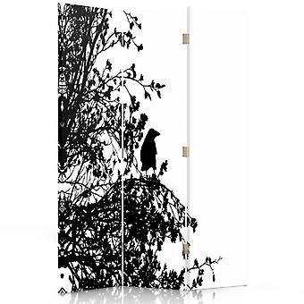 Room Divider, 3 Panels, Single-Sided, Canvas, Black-And-White Bird