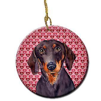 Dachshund Valentine's Love and Hearts Ceramic Ornament