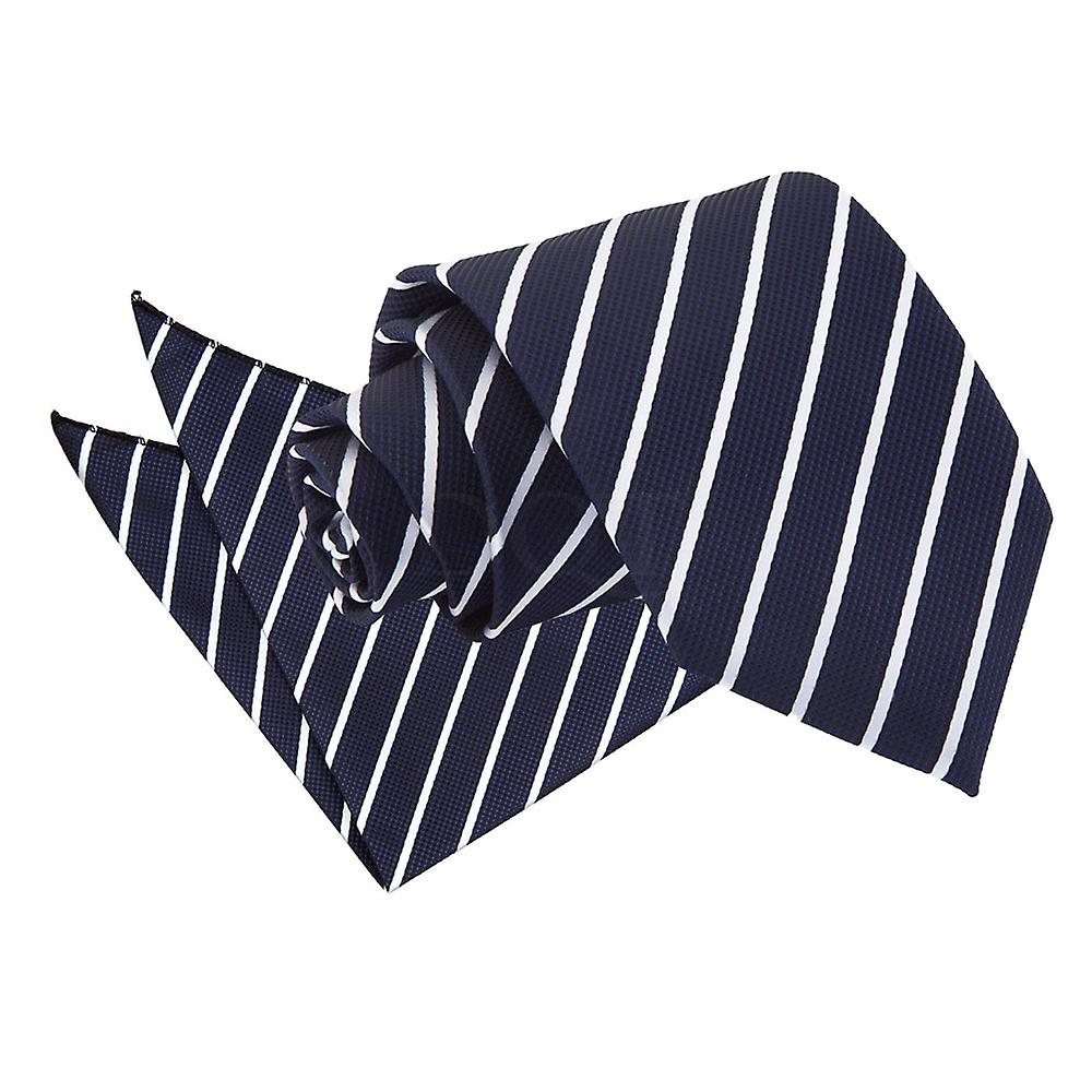 Navy & White Single Stripe Tie and Pocket Square Set
