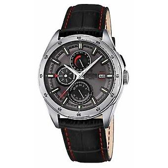 Festina Mens Black Leather Strap Multifunction Dial F16877/3 Watch
