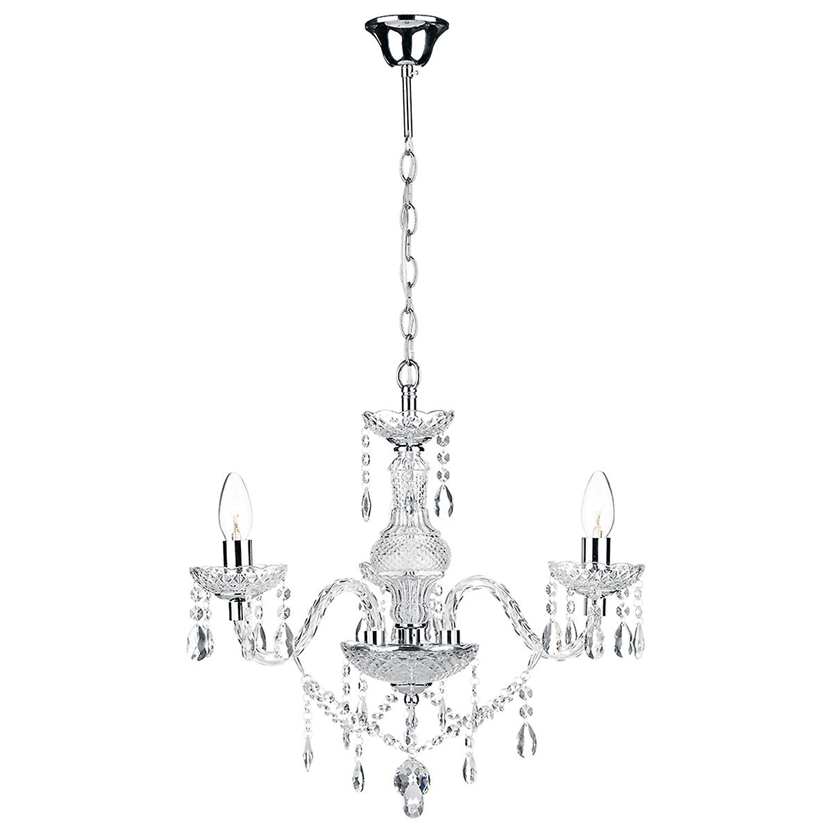 Dar KAT0350 Katie Modern 3 Arm Glass Crystal Chandelier Double Insulated