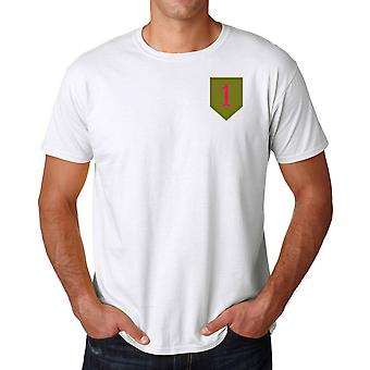 US Army 1st Infantry Division Embroidered Logo - Ringspun Cotton T Shirt
