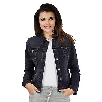 Fitted Stretch Faded Denim Jacket - Black