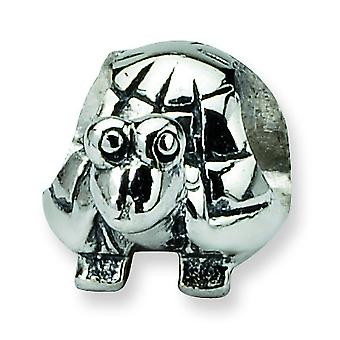 Sterling Silver Polished Antique finish Reflections Kids Turtle Bead Charm