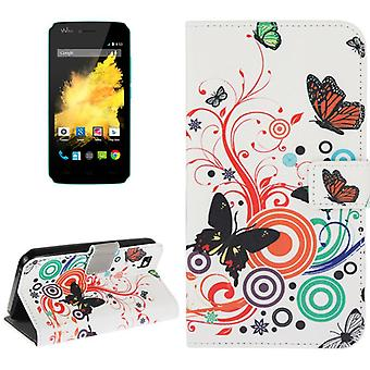 Mobile phone case pouch for mobile WIKO sunset colorful butterflies