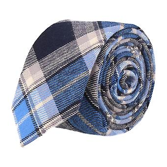 Andrews & co. narrow tie Club tie Plaid Navy beige