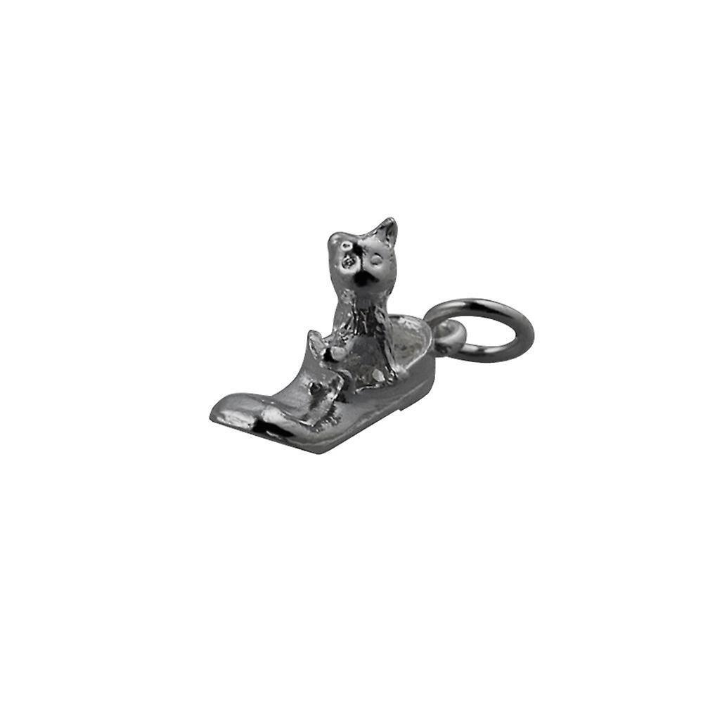 Silver 15x6mm Cat in Shoe Pendant or Charm Charm Charm c9ead0