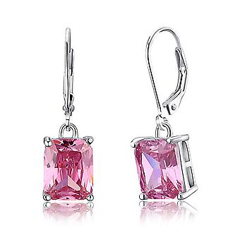 925 Sterling Silver 4 Carats Simulated Pink Sapphire Drop Earrings