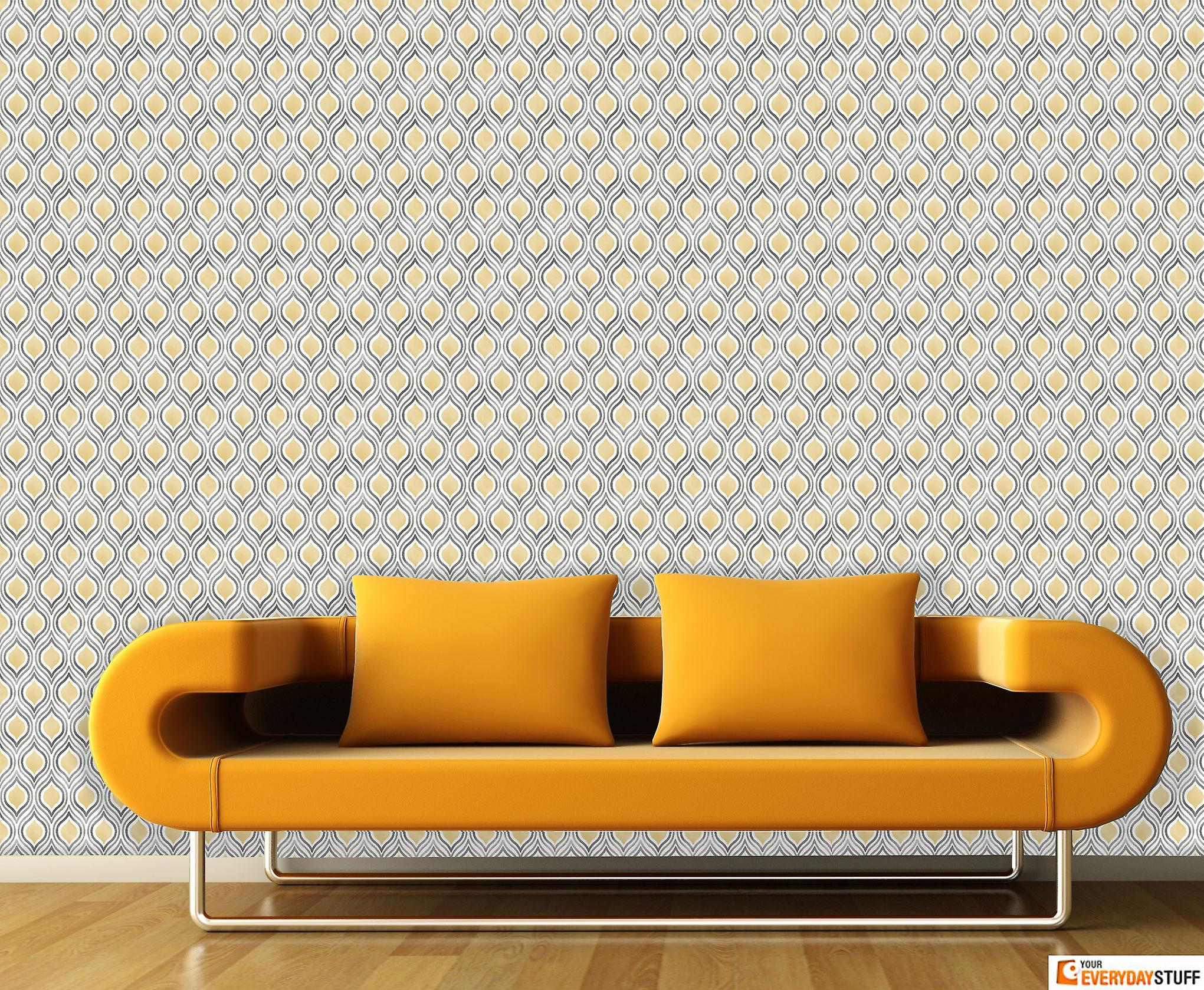 Retro Wallpaper Plume Abstract Yellow Grey White Street Prints Paste The Wall