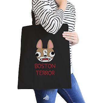 Boston Terror Skrekkelig svart lerret Tote sammenleggbar Bag hunden eier gave