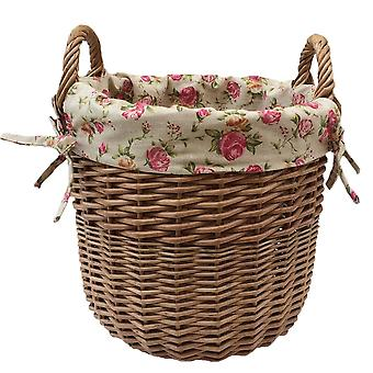 Small Wicker Linen Basket with a Garden Rose Lining