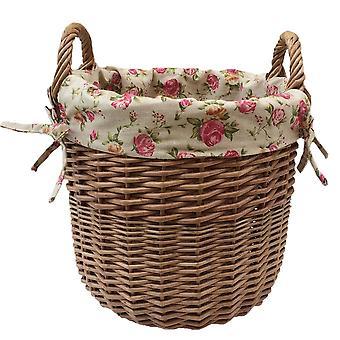 Kleine Wäsche Weidenkorb mit Futter Garten Rose