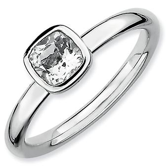 Sterling Silver Bezel Polished Rhodium-plated Stackable Expressions Cushion Cut White Topaz Ring - Ring Size: 5 to 10