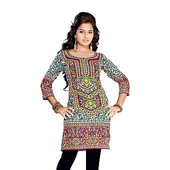 Purple 3/4 sleeve Indian Printed  Kurti Tunic Women Kurta