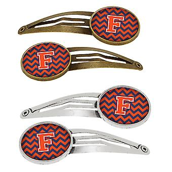 Letter F Chevron Orange and Blue Set of 4 Barrettes Hair Clips