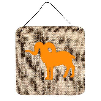 Sheep Burlap and Orange Aluminium Metal Wall or Door Hanging Prints BB1007