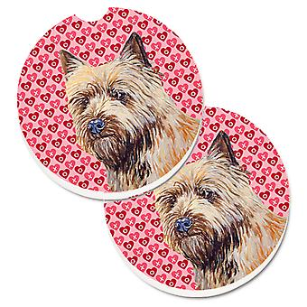 Cairn Terrier Hearts Love and Valentine's Day Portrait Set of 2 Cup Holder Car C