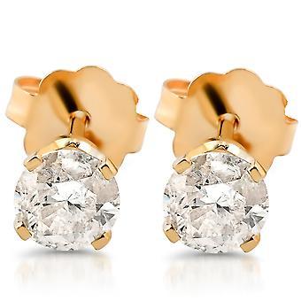 1/2 ct ラウンド ダイヤモンドのスタッド 14 k イエローゴールド