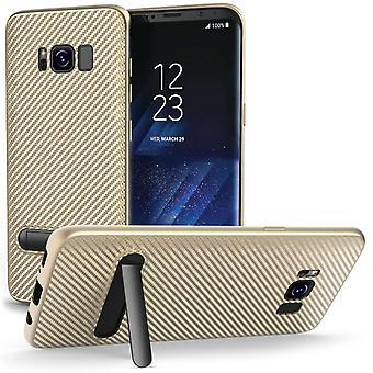 Samsung Galaxy S8 Carbon Fibre Stand Case - Gold