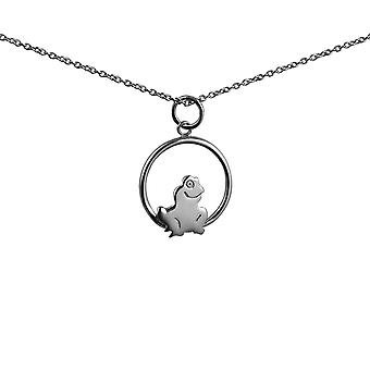 Silver 18x19mm Frog in a circle Pendant with rolo Chain 14 inches Only Suitable for Children