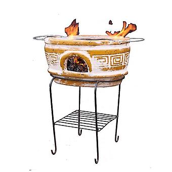 Gardena Asador Azteca Large Oval Ochre Mexican BBQ With Stand & Grill