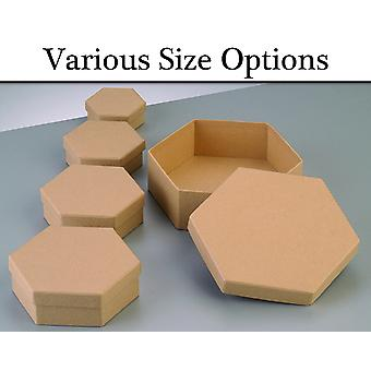 Paper Mache Hexagon Flat Boxes with Lids to Decorate