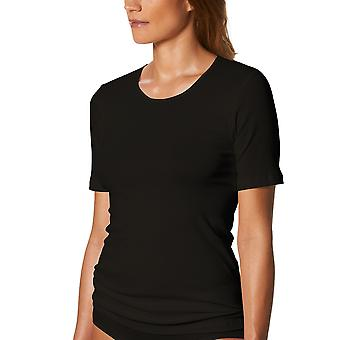 Mey 26807-3 Women's Noblesse Black Solid Colour Short Sleeve Top