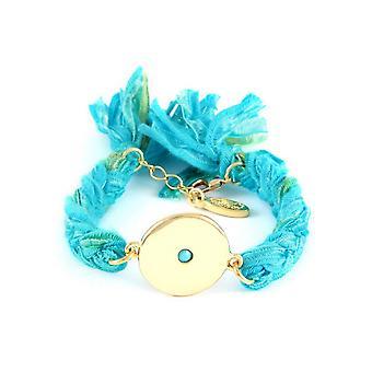 Ettika - Bracelet yellow gold disc and braided ribbons cotton Turquoise