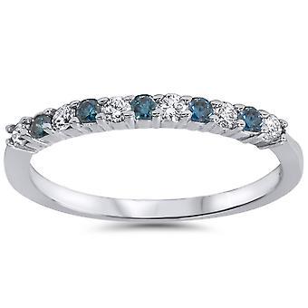 1 / 4ct azul y blanco diamante anillo de aniversario 14K