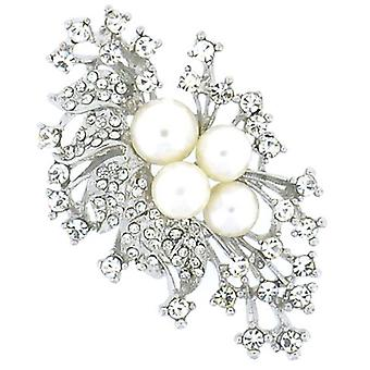 Brooches Store Silver Crystal & Pearl Leaf Spray Corsage Brooch