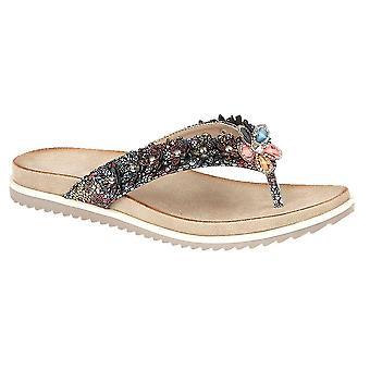 Ladies Womens Toe Post Flower Mule Slip On Flip Flop Sandals Shoes