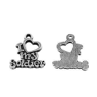 Packet 10 x Antique Silver Tibetan 19mm I Love My Soldier Charm/Pendant ZX02155
