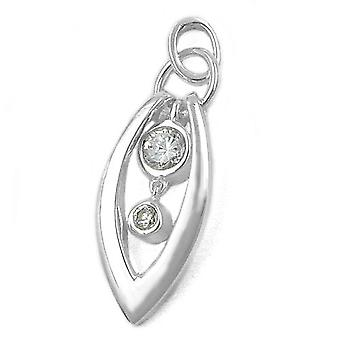 Silver Pendant glossy white pointed-Oval 2 cubic zirconia pendants Silver 925