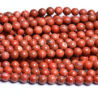 Strand 60+ Red Jasper 6mm Faceted Round Beads CB31117-2