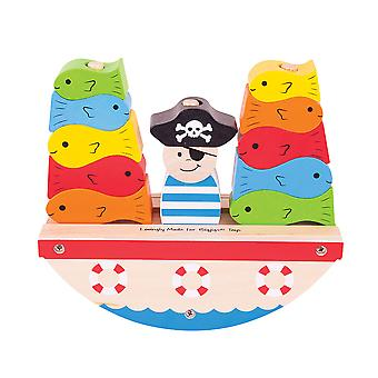 Bigjigs Toys Wooden Balance Rocking Pirate Boat Game Toy