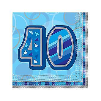 Anniversaire Glitz bleu - 40e anniversaire - serviette