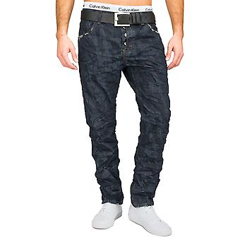 Men's Slim fit jeans trousers dark blue camouflage army crinkle-look straight leg