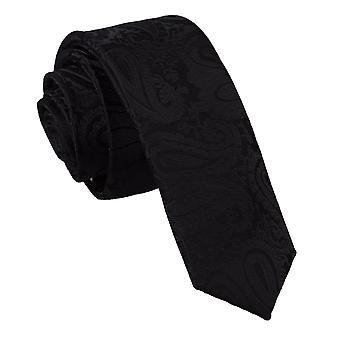 Schmaler Krawatte schwarze Paisley