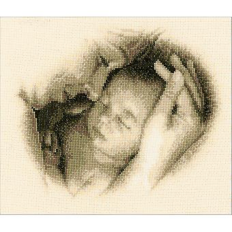 Mother & Child On Aida Counted Cross Stitch Kit-10.4