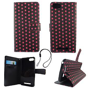 携帯電話モバイル WIKO レニー 3 水玉黒ピンク ポーチ